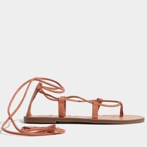 Madewell Boardwalk Lace Up Sandal suede 7 NWOT